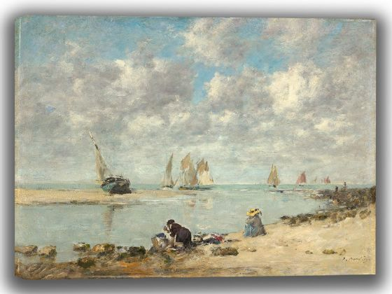 Boudin, Eugene: Washerwoman near Trouville. Fine Art Canvas. Sizes: A4/A3/A2/A1 (003966)